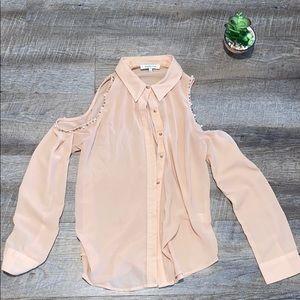 Light Pink Pearl Cold Shoulder Blouse